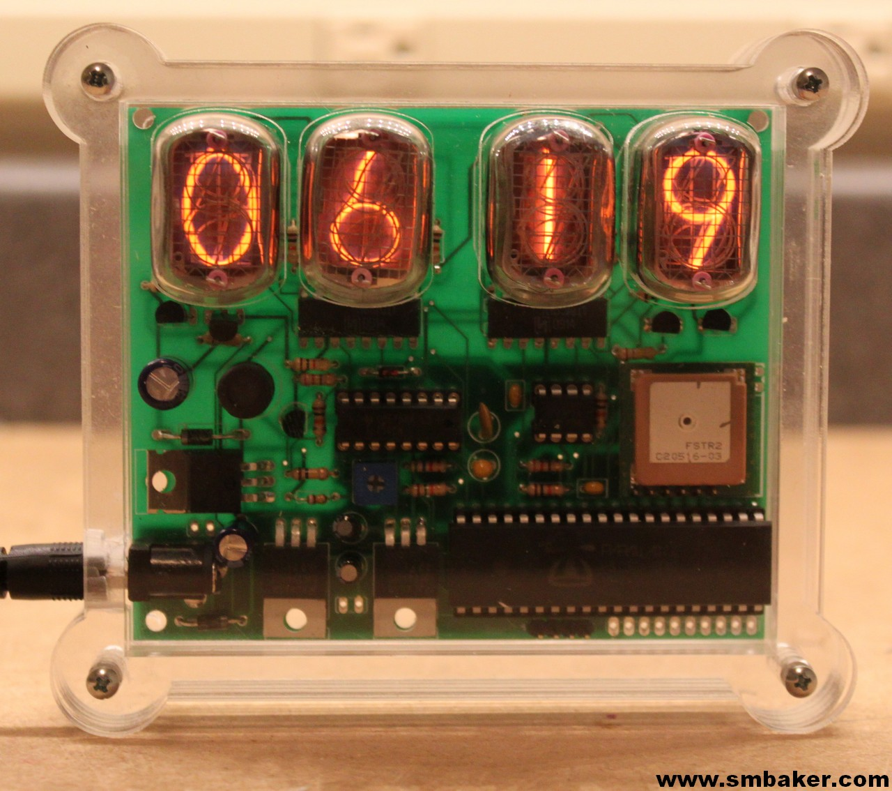 Picture of the propeller powered IN-12 Nixie Tube Clock, revision 2.