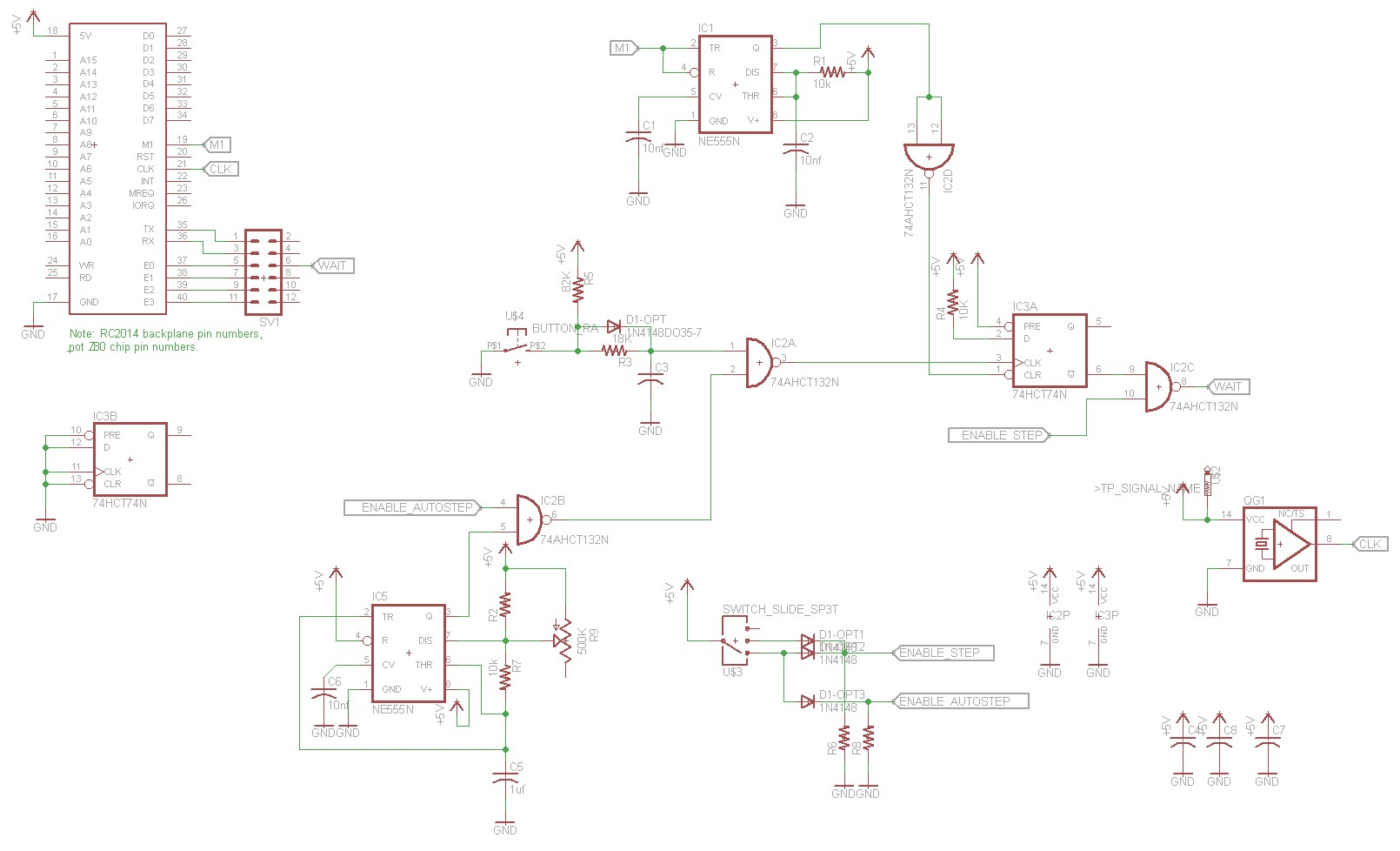 Z80 Retrocomputing 5 Single Stepper For Rc2014 Dr Scott M Baker 7474 Pin Diagram Schematic